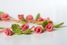 Crochet Pattern Rose Garden Necklace