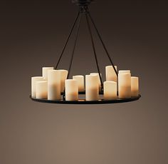 """Restoration Hardware Pillar Candle Round Small Chandelier  Includes four 9"""", four 16"""" and four 27"""" arms for adjustable length  32"""" diam., 27""""H"""