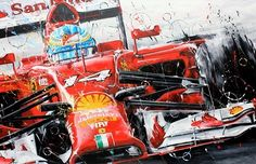 El Matador Ferrari Watch, Ferrari F1, Michael Schumacher, Alonso, Automotive Art, First Art, Car Painting, Vintage Posters, Original Paintings