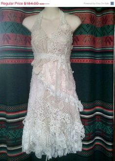 """20% OFF vintage inspired shabby chic white cotton doilies and lace halter dress...medium to firm 42"""" bust"""