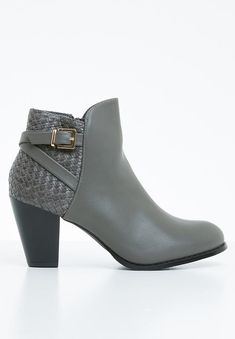 Woven back detail. Grey Boots, Ankle Boots, Grey Style, Back Details, Grey Fashion, Fashion Branding, Beautiful Shoes, Block Heels, Fit Women
