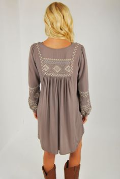Peasant Tunic Dress in Charcoal   I love this so much, I'm gonna die!
