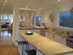 Kitchen counter open floor plan