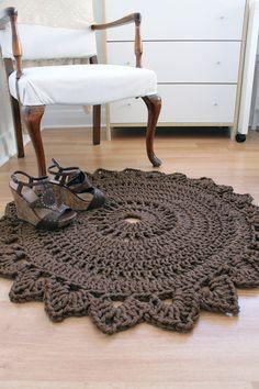 Rug made with macrame nylon yarn ~ROUND BEDROOM RUG Handmade Crochet Nylon Chocolate Brown Home Decor. via Etsy.