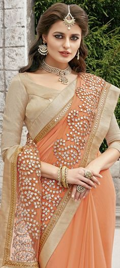 733104 Orange color family Embroidered Sarees, Party Wear Sarees in Faux Georgette fabric with Gota Patti, Lace, Sequence work with matching unstitched blouse.