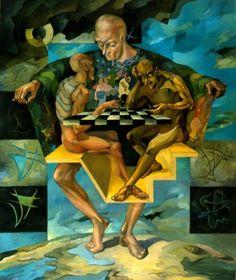 "Сhess (""Шахматы""), oil on canvas"