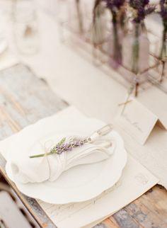 Pretty napkin fold with lavender