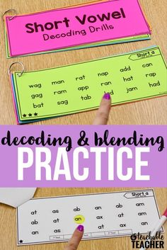 I use decoding drills at the beginning of reading intervention blocks. Students read the words across the row. Once they are able to fluently read a page, we move on to the next   decoding and blending   decoding short vowels   struggling reading   reading drills