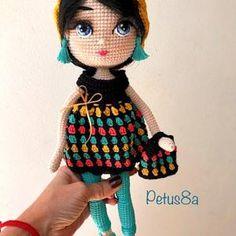 Amigurumi Pauline Doll Free Crochet Pattern - Amigurumi Free Patterns Crochet Doll Pattern, Crochet Patterns Amigurumi, Amigurumi Doll, Free Crochet, Crochet Hats, Doll Clothes, Free Pattern, Barbie, Homemade