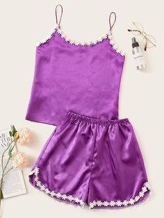 To find out about the Crochet Trim Satin Cami PJ Set at SHEIN, part of our latest Night Sets ready to shop online today! Pajama Outfits, Lazy Outfits, Summer Fashion Outfits, Cute Outfits, Cute Pjs, Cute Pajamas, Cute Sleepwear, Lingerie Sleepwear, Night Gown Dress