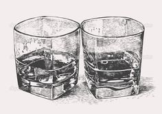 Whiskey in two glasses. engraved retro style. — Stock Illustration #22512461