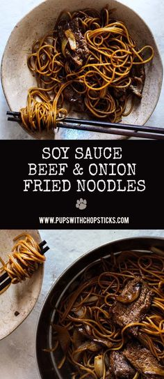 Beef & Onion Soy Sauce Noodles - A simple soy sauce beef and onion fried noodle recipe that can be made in 10 minutes that's flavourful with wonderful textures. Soy Sauce Noodles, Fried Noodles Recipe, Beef And Noodles, Asian Noodles, Pan Fried Noodles, Drunken Noodles, Chicken Noodles, Sesame Noodles, Pot Pasta