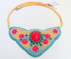 Bead embroidery neon ethnic necklace Manish, Statement Jewelry, Beaded Embroidery, Ethnic, Crochet Necklace, Handmade Jewelry, Neon, Crafty, Beads