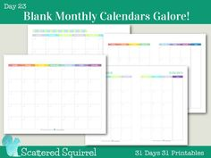 These blank monthly calendars have a Sunday start for those who like a more traditional monthly calendar. Choose from two different layouts in 2 different sizes and in 2 different colour schemes. Blank Monthly Calendar, Calendar Journal, Diy Calendar, Printable Calendar Template, Calendar Pages, Monthly Planner, Planner Pages, Printable Planner, College Planner