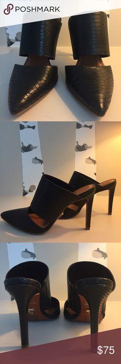 Black Snakeskin Pumps Black snake skin, mule pump carrano Shoes Heels