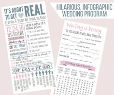 Funny Infographic Wedding Program / Games & Activities / Word Search / Custom / Mad Lib / Printable / Fun / 4.5x9""