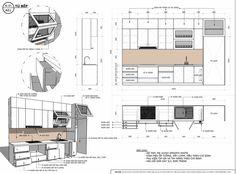 Interior Architecture Drawing, Interior Design Renderings, Drawing Interior, Interior Design Boards, Architecture Design, Kitchen Room Design, Kitchen Interior, Kitchen Layout Plans, Drawing Furniture