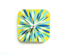 Yellow Blue and Orange Wall Clock  Modern Home by eightyacresart, $38.00