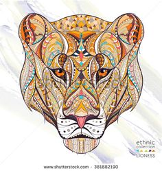 Patterned head of the lioness on the grunge background. African / indian / totem / tattoo design.