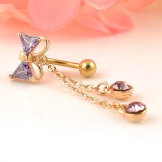Crystal Bow Dangle Chain Piercing Navel Belly Button Ring