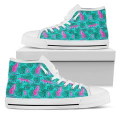 Pink Cheetah Pattern Men's High Tops    Custom printed high tops. Amazing colors and print quality. Lightweight canvas construction for maximum comfort. High quality EVA sole for exceptional traction and durability. Made with love just for you. Show Off Your Wild Side Today! #hightops #cheetahgear #WildAnimalist Top Shoes, Men's Shoes, Pink Cheetah, Mens High Tops, Snug Fit, High Top Sneakers, Just For You, Construction, Cheetahs
