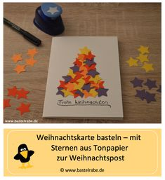 Weihnachtskarte basteln Tinker Christmas card – DIY / craft idea for children – In this craft idea the craft raven shows you how you can craft a Christmas card. Your family and friends will surely be happy about the self-designed Christmas mail. Christmas Mail, Christmas Cards To Make, Christmas Time, Christmas Crafts, Xmas, Craft Projects For Kids, Diy For Kids, Easy Paper Crafts, Diy And Crafts
