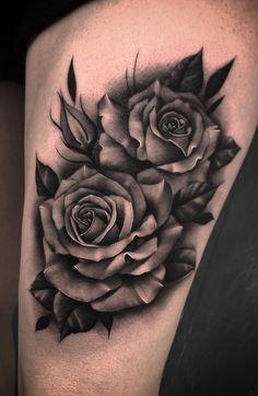 Black And Grey Rose Tattoo, Black And White Roses, Black Rose Tattoo Coverup, Buddha Tattoos, Body Art Tattoos, Sleeve Tattoos, Rose Drawing Tattoo, Tattoo Shading, Rose Tattoo Man