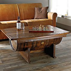 Handmade Oak Whiskey Barrel Coffee Table at Wine Enthusiast - $995.00