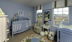 This gorgeous secondary room of the Elm floor plan is decorated as a nursery. The color pallet is relaxing and perfect for an expanding family. Home Photo, Color Pallets, Cribs, Toddler Bed, Photo Galleries, Bedrooms, New Homes, Relax, Floor Plans
