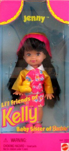 """Barbie JENNY Li'l Friends of KELLY Doll (1996). Jenny Li'l Friends of Kelly, Baby Sister of Barbie is a 1996 Mattel production. Included: Jenny doll approx. 4.5"""" tall, comes w/Raincoat, Rain Hat, Shoes & Toy Duck. See detailed information below in Product Description. WARNING: Choking Hazard - Small Parts; For ages 3+ years. Great for any collection, as a gift or just for fun play!."""