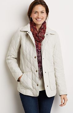 Diamond-quilted long jacket (in walnut). | Cozy up for Fall ... : quilted fall jacket - Adamdwight.com