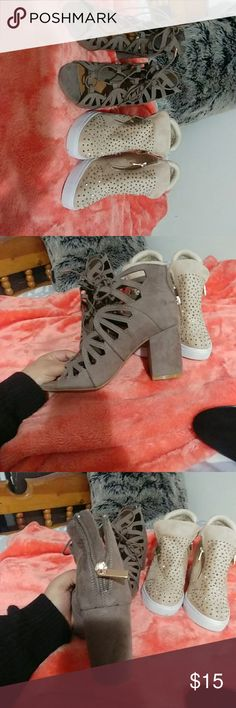 Heels and wedges Heels from bamboo size 7.5. Sneaker wedges size 8. I am a size 7.5 and they both fit fine. If you have slim feet wedges might fit more like an 8. Shoes Heels