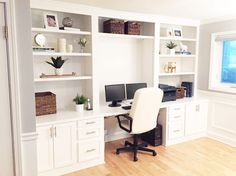 "See the full process on this built-in desk build! You won't believe how this space looked ""before""!"