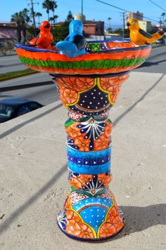 Talavera Mexican Pottery BIRD BATH by MexicanTalavera on Etsy $270.00