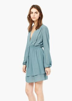 V-neckline dress - Dresses for Women | MANGO