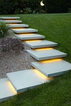DIY Outdoor LED Strip Lighting Stairs and Toe Kick Design Your way More from my siteOutdoor Led light strip RGBW Color Changing + White LED Strip Light. Modern Landscape Design, Modern Landscaping, Backyard Landscaping, Landscaping Ideas, Landscape Architecture, Landscape Stairs, House Landscape, Landscape Concept, Patio Ideas