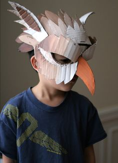 10 DIY Cardboard & Paper Masks for Halloween - Handmade Charlotte - mask making Cardboard Mask, Cardboard Paper, Cardboard Crafts, Cardboard Costume, Paper Clay, Maske Halloween, Costume Halloween, Halloween Diy, Bird Costume
