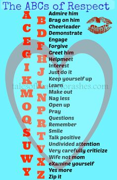 ABCs of respect for your man. This is a great list of ways that I can show my husband respect! #marriage