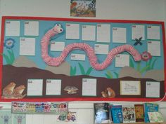 One of our new classroom displays. Superworm made out of papier mache Class Displays, School Displays, Library Displays, Classroom Displays, Ks1 Classroom, Forest Classroom, Educational Activities, Book Activities, Minibeasts Eyfs