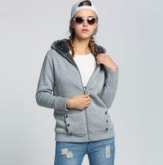 55c27c13e19 Dámská podzimní mikina s kapucí a kožíškem na zip ŠEDÁ – VELIKOST L Na  tento produkt