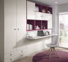 Teenager's bedroom with a fold-away bed, a folding desk and a number of shelves and cupboards. Baby Bedroom, Bedroom Decor, Attic Bedroom Designs, Casa Loft, Folding Desk, Mattress Dimensions, Window Bed, Multifunctional Furniture, Bed Wall