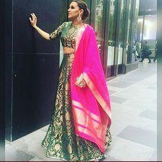 """Beautiful neha duphia sizzling in perfect banarasi lehenga choli and silk… Punjabi Fashion, India Fashion, Bollywood Fashion, Fashion Fashion, Banarasi Lehenga, Silk Dupatta, Saree, Anarkali, Indian Attire"