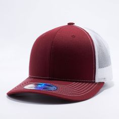 28716ef0107068 Shop for Wholesale Trucker Hats Wholesale: Pit Bull Burgundy and White  Cambridge Trucker Mesh Hat Cap Wholesale and Custom
