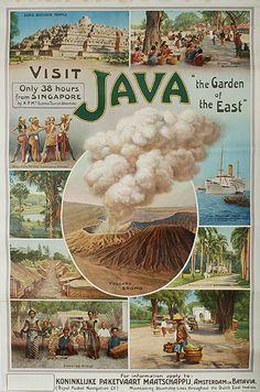 1920 Visit Java the Garden of the East, Indonesia vintage travel poster