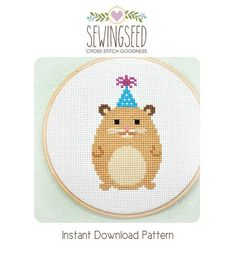 Party Animal Hamster Cross Stitch Pattern Instant door Sewingseed