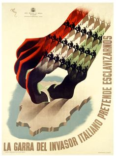 "The Claw ""La Garra del Invasor Italiano"" Spanish Civil War Poster - Vintage Prints, Vintage Ads, Vintage Posters, Vintage Canvas, Spanish War, Spanish Posters, Propaganda Art, Political Posters, Graphic Illustration"