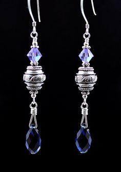 Intricate Bali beads & Swarovski crystal earrings