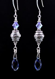 Intricate Bali beads & Swarovski crystal earrings