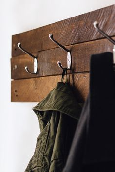 "astrangeadventure: "" Brian built us a coat rack hanger out of an old pallet and I just really love how it turned out. Next project will be making a coffee table! """