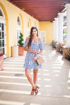 blue and white cold shoulder dress, jack by bb dakota vivi dress, greek inspired dress, cognac sandals, neon yellow tassel earrings, neon tassel earrings, tassel bracelets, meritage resort and spa napa, napa valley, wine country, tory burch bombe t crossbody bag, travel style, summer fashion, summer dress // grace wainwright a southern drawl